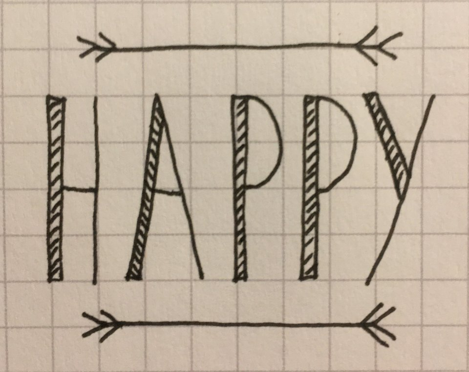 Photo of a gridded page with HAPPY written in ink.